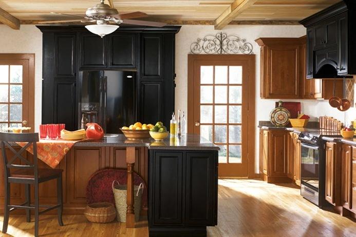 Kemper Alder Kitchen Cabinets With Black Cabinet Accents