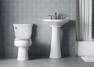 Kohler-ToiletPedestal-Sink-with-Satin-2Lever-Faucet